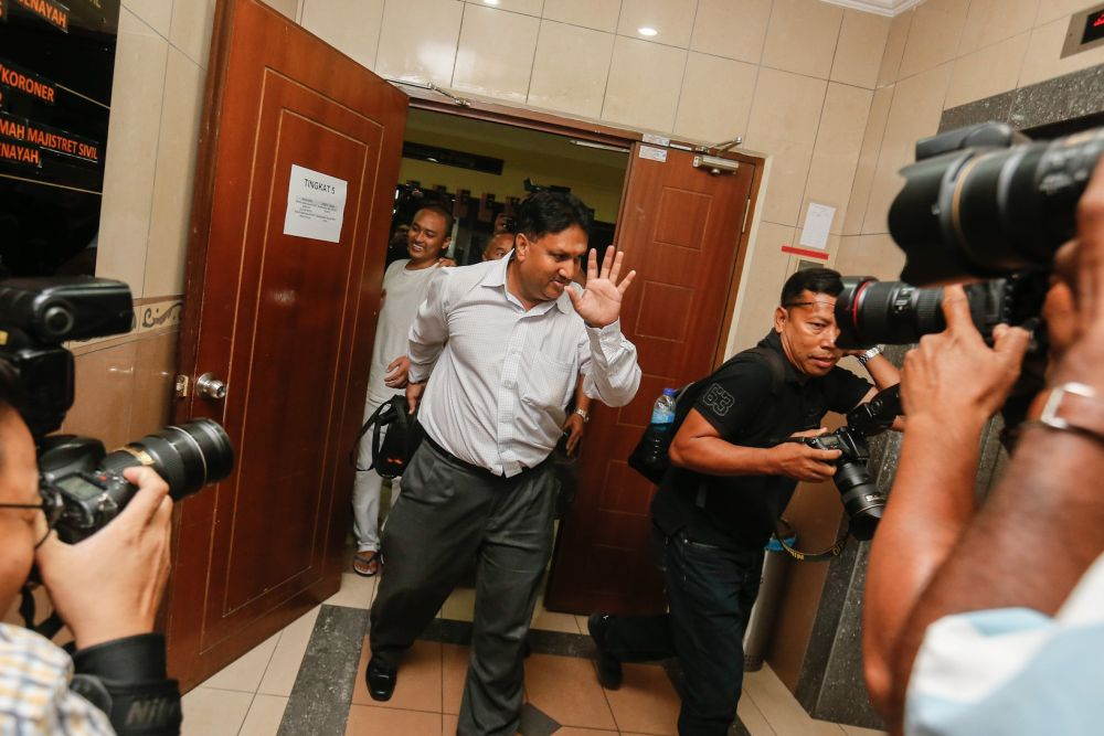 L Prem Anand is pictured at the George Town Magistrate's Court on 12 November.