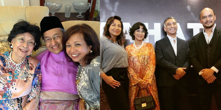 A collage showing Mahathir and his family and the actors playing them in the new biopic, 'Mahathir: The Journey'.