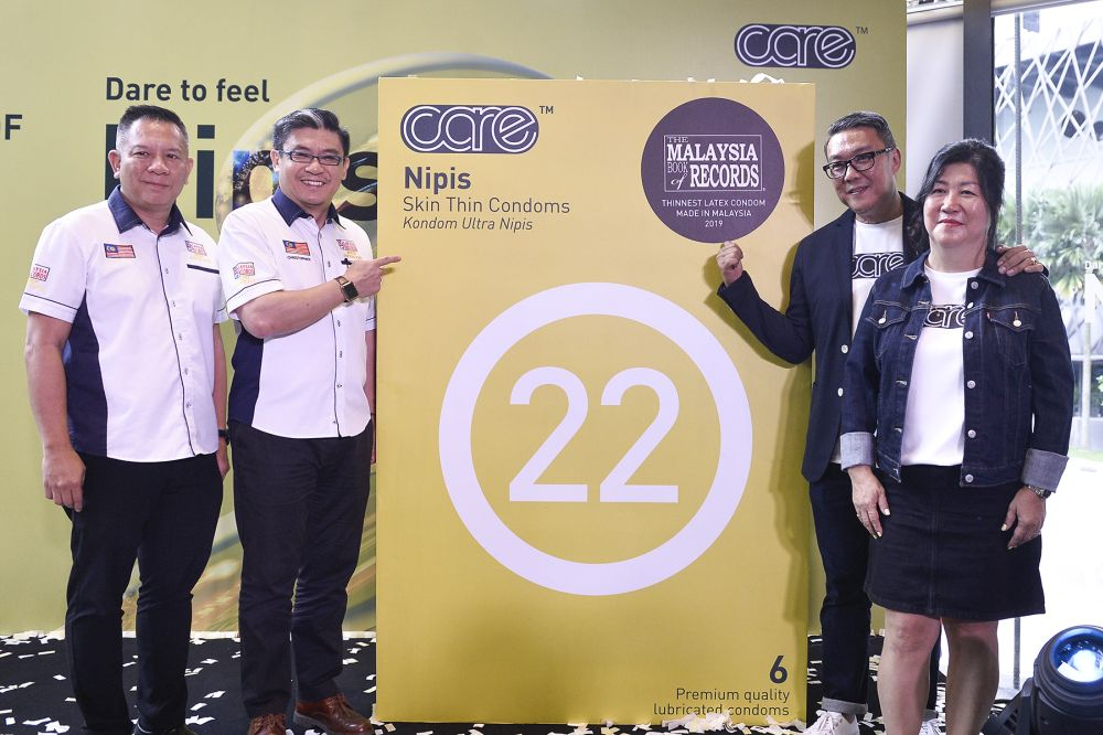 Left to right: Malaysia Book of Records operation, research, and marketing manager Edwin Yeoh, chief operating officer Christopher Wong, Care Latex founder and executive director Bonn Lam, and executive director Patricya Tan.