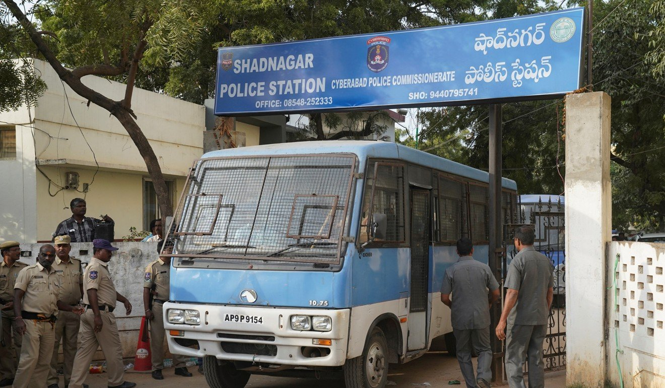A police van carrying the four accused from a police station in Shadnagar, on the outskirts of Hyderabad.
