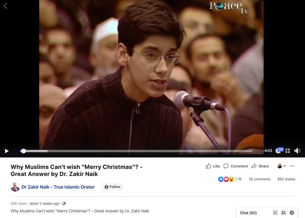 Screenshot of the video uploaded on the Facebook page on 8 December 2019.