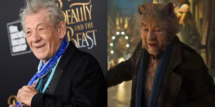 Gus the Theatre Cat, played by Ian McKellen, is an old yet revered cat who suffers from palsy.