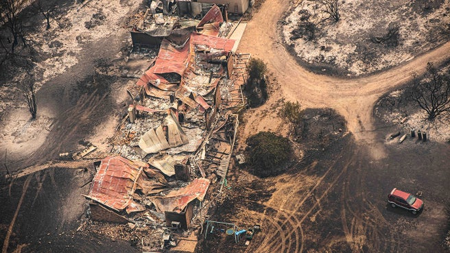 Property damaged by the East Gippsland fires in Sarsfield, Victoria on 1 January.