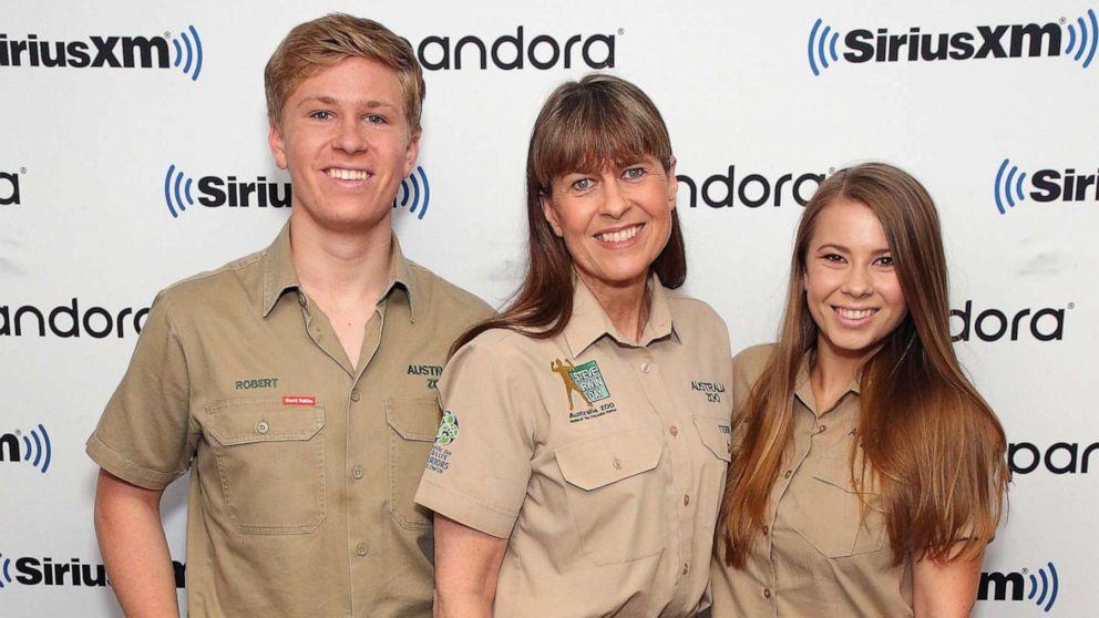 (Left to right) Steve Irwin's son Robert, wife Terri, and daughter Bindi.