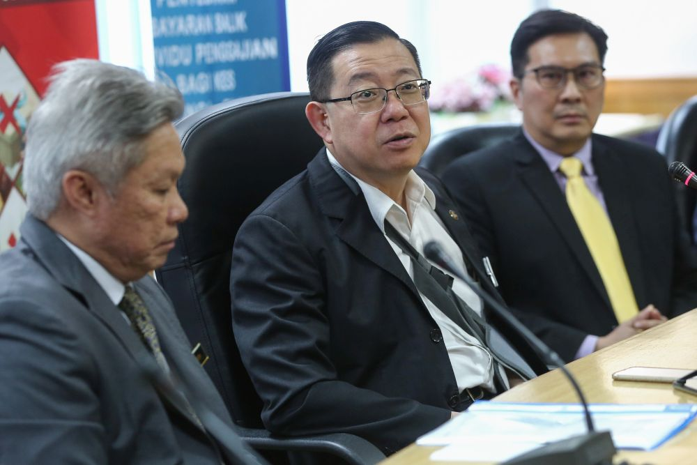 Lim Guan Eng during a news conference at the Inland Revenue Board's office.