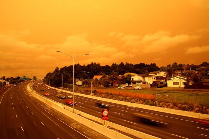 Keadaan langit di Auckland, New Zealand.
