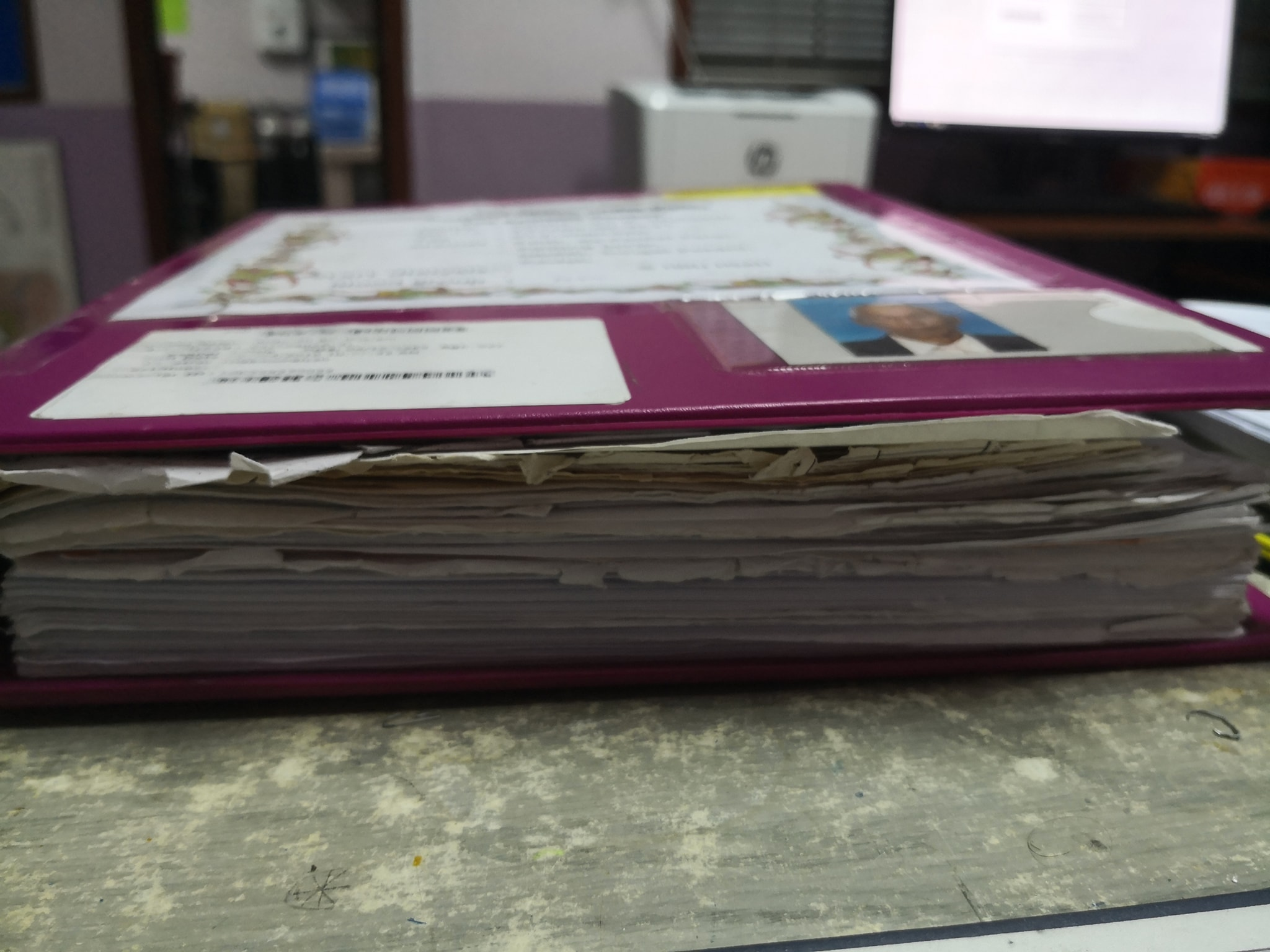 30 years worth of medical notes.