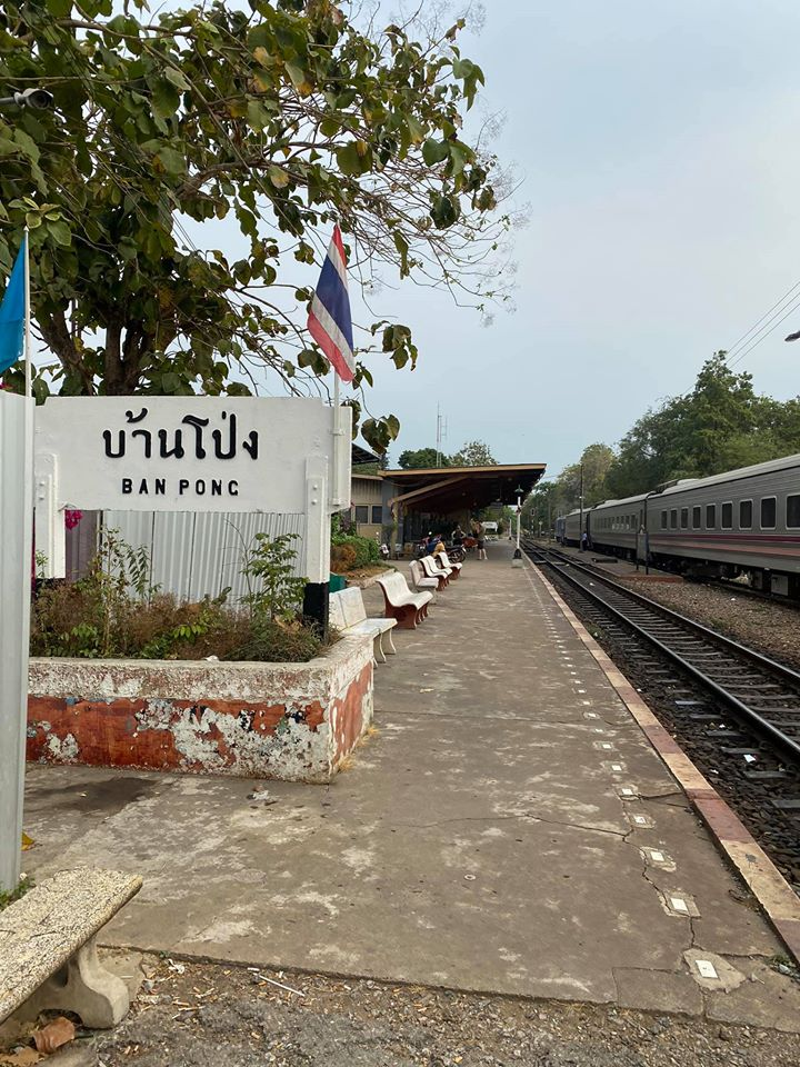The train stopped away from the platform at Ban Pong station in Ratchaburi province.