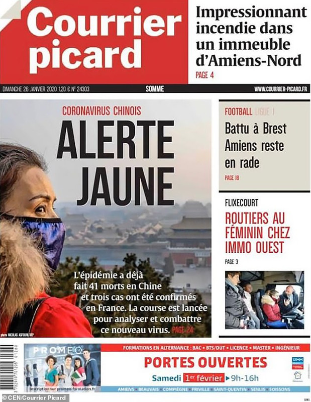 """""""Yellow Alert"""", reads a headline of a French daily."""