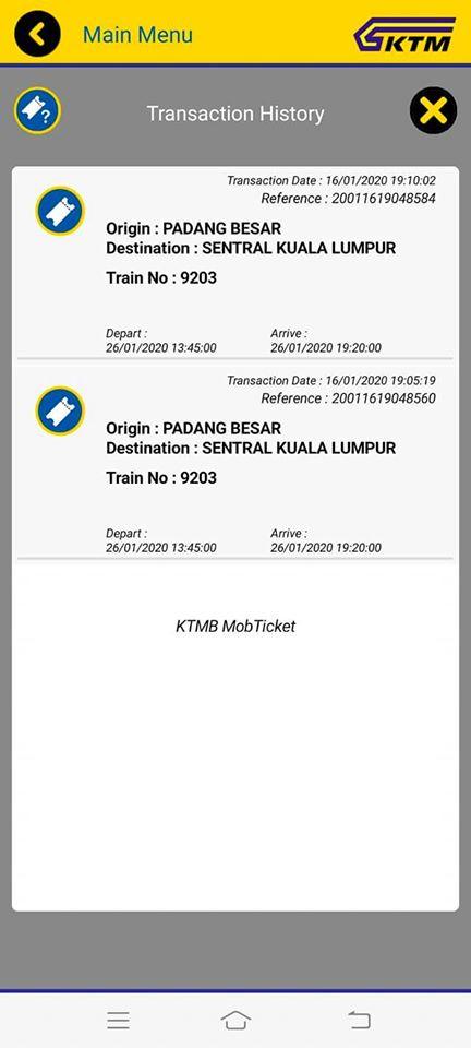 Okay ni apps KTMB yang korang nak beli tiket, dia boleh beli utk 2 org sahaja untuk sekali beli. Make sure korang belilah untuk return sekali okay.