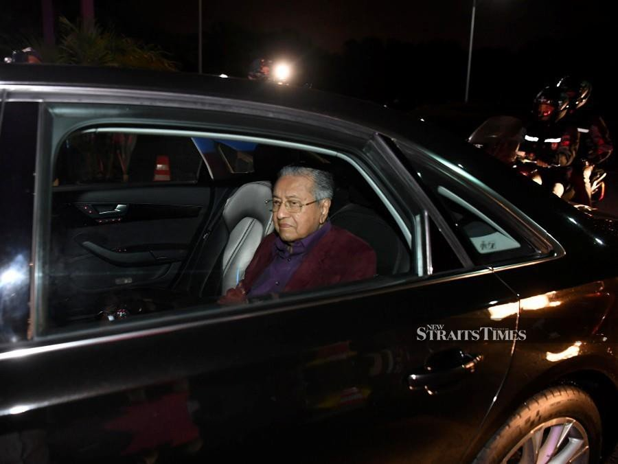 Tun Dr Mahathir after chairing a Bersatu Supreme Council meeting today, 23 February