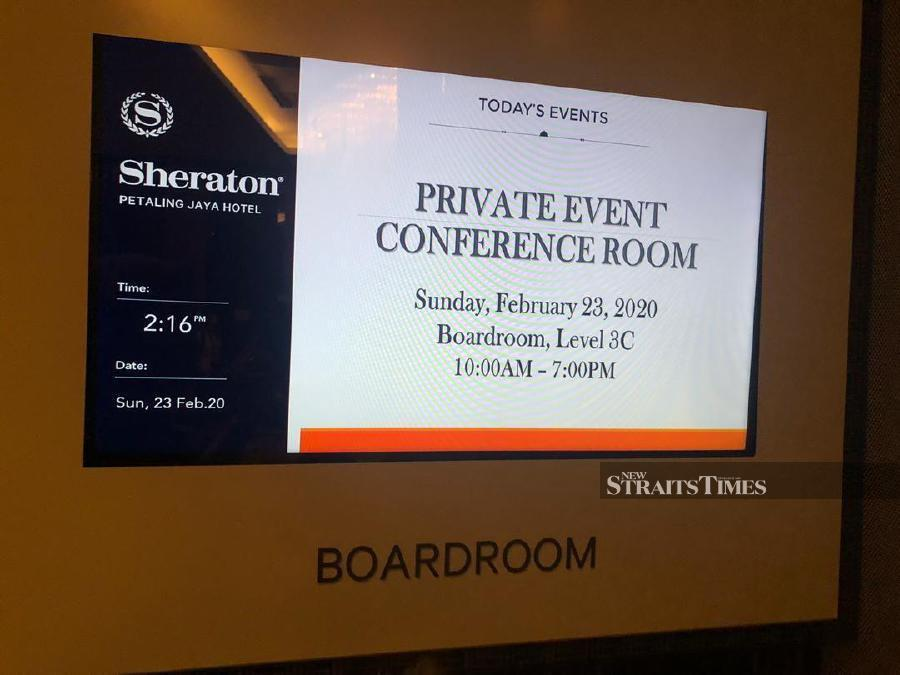 Signage at the Sheraton Hotel where several PKR leaders were spotted today.