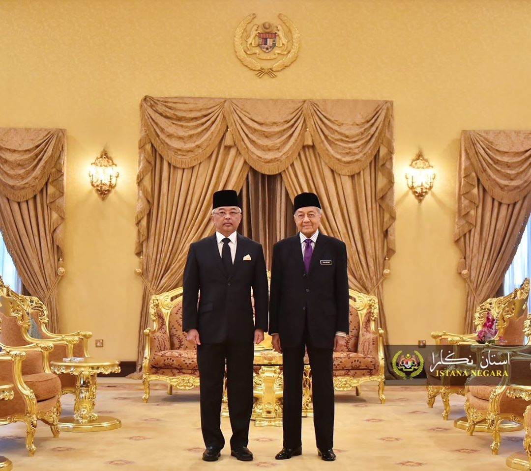 The Yang di-Pertuan Agong with Tun Dr Mahathir during the weekly audience at Istana Melawati on 12 February.