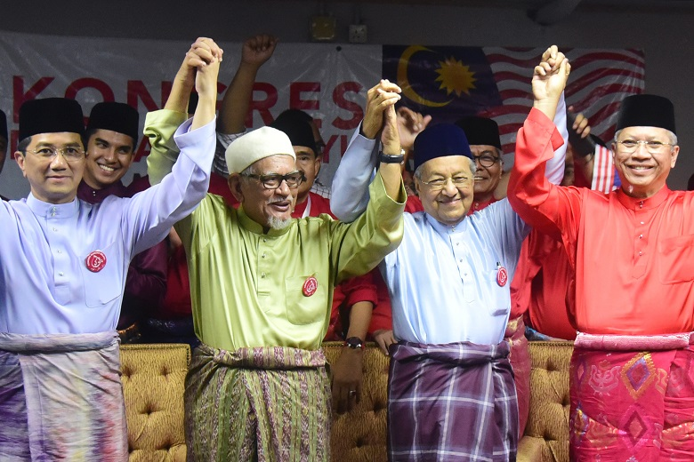 Azmin Ali, Abdul Hadi Awang, Dr  Mahathir, and Annuar Musa at the Malay Dignity Congress in October last year.