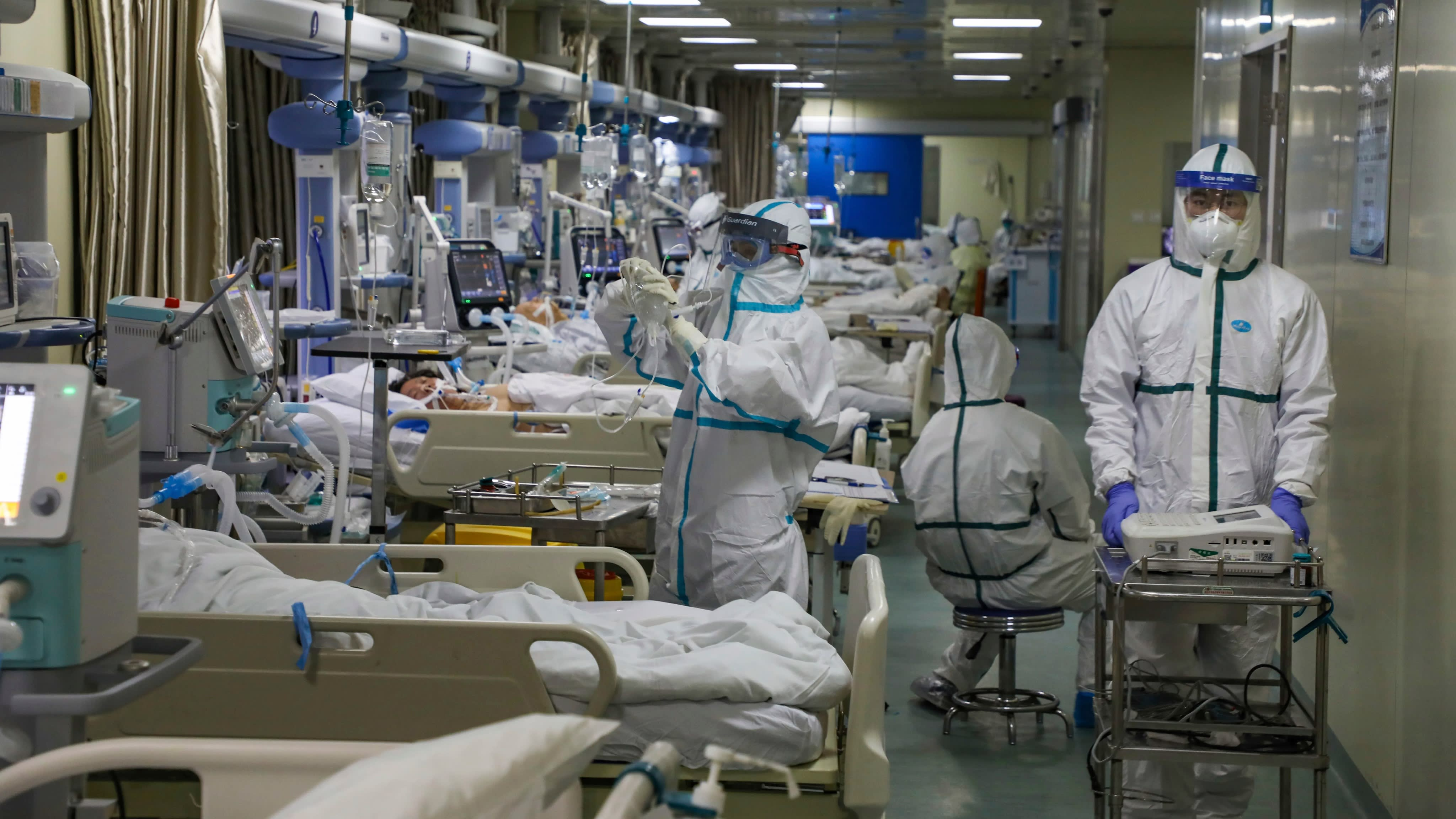 Medical staff work in the isolated intensive care unit in a hospital in Wuhan, China on 6 February.