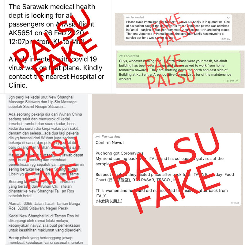 A compilation of fake viral messages of the COVID-19 outbreak in Malaysia.
