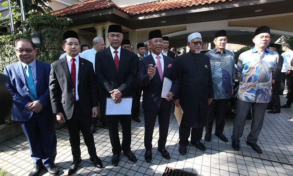 Zahid Hamidi and Muhyiddin Yassin are seen together along with other leaders of the PN coalition.