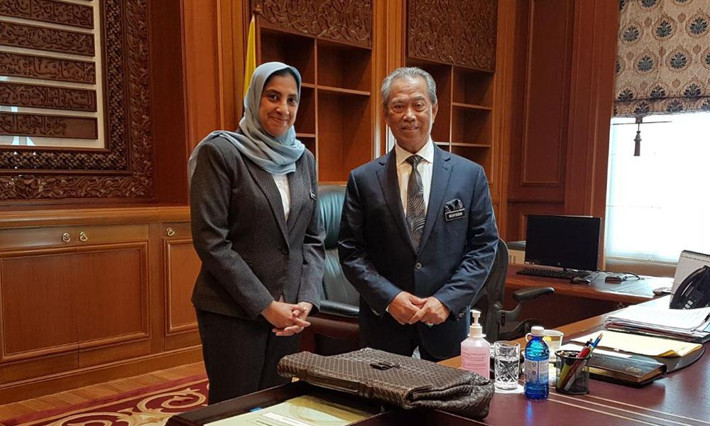Latheefa with Prime Minister Muhyiddin during her last visit on Thursday, 5 March.