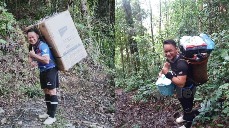 Cikgu Harry carrying the refrigerator in its box (left), and occasionally carrying supplies for the hostel students on the weekends (right).