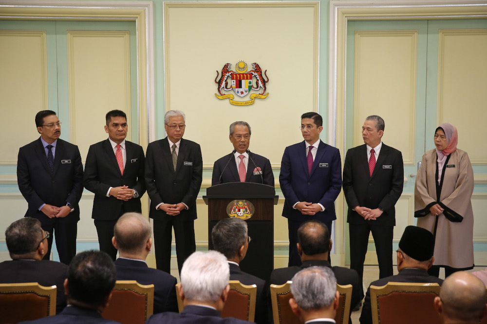 PM Muhyiddin during the press conference at the Prime Minister Office's in Putrajaya, 11 March.