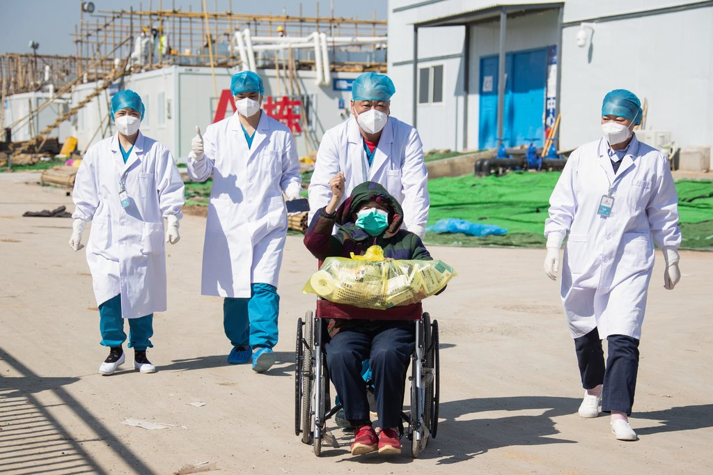 A COVID-19 patient who recovered and was discharged from Leishenshan Hospital in Wuhan, China, earlier this month.