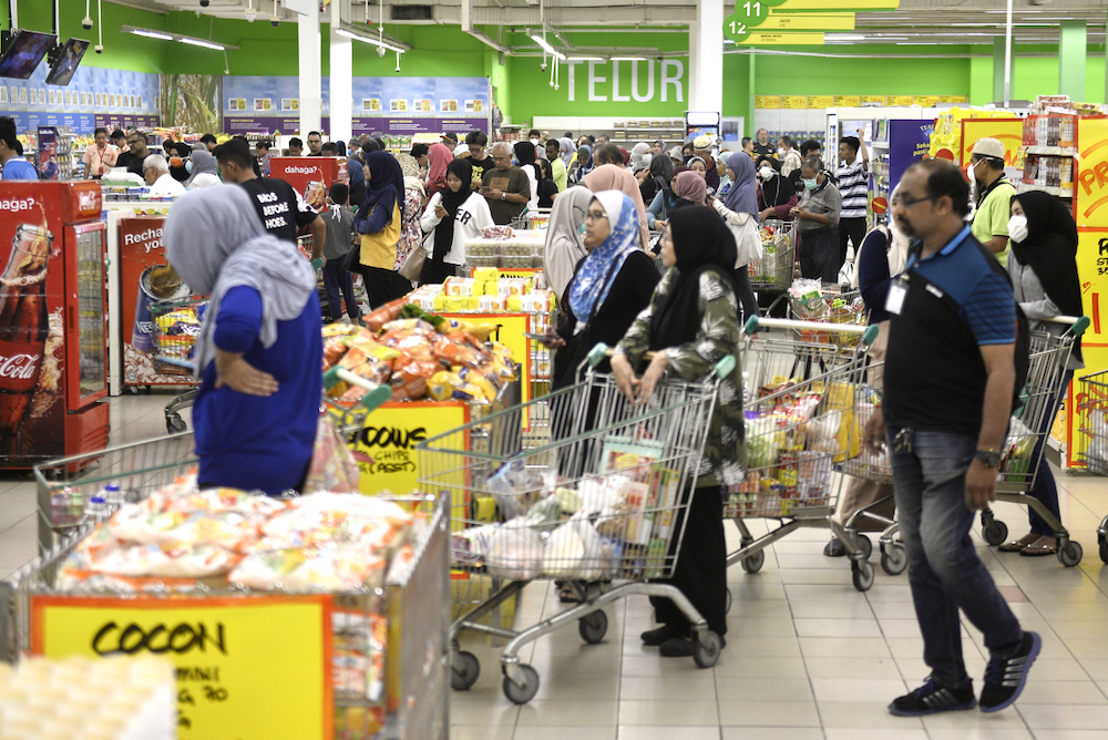 Supermarkets were crowded with shoppers the day before the Restriction of Movement Order was implemented on 18 March.