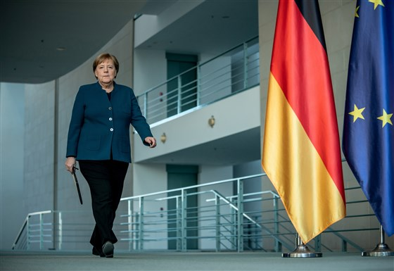 German Chancellor Angela Merkel at the Chancellery in Berlin on Sunday, 22 March.