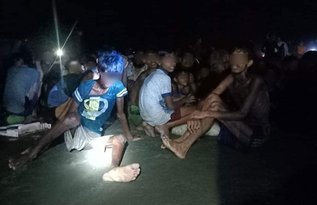 Rohingya refugees who were rescued by Bangladesh Coast Guard in Teknaf Upazila of Cox's Bazar on Wednesday.