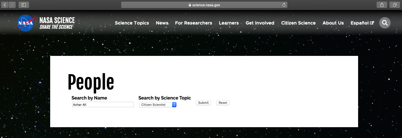 Typing Azhar Ali on the feed doesn't show his name as a Citizen Scientist.