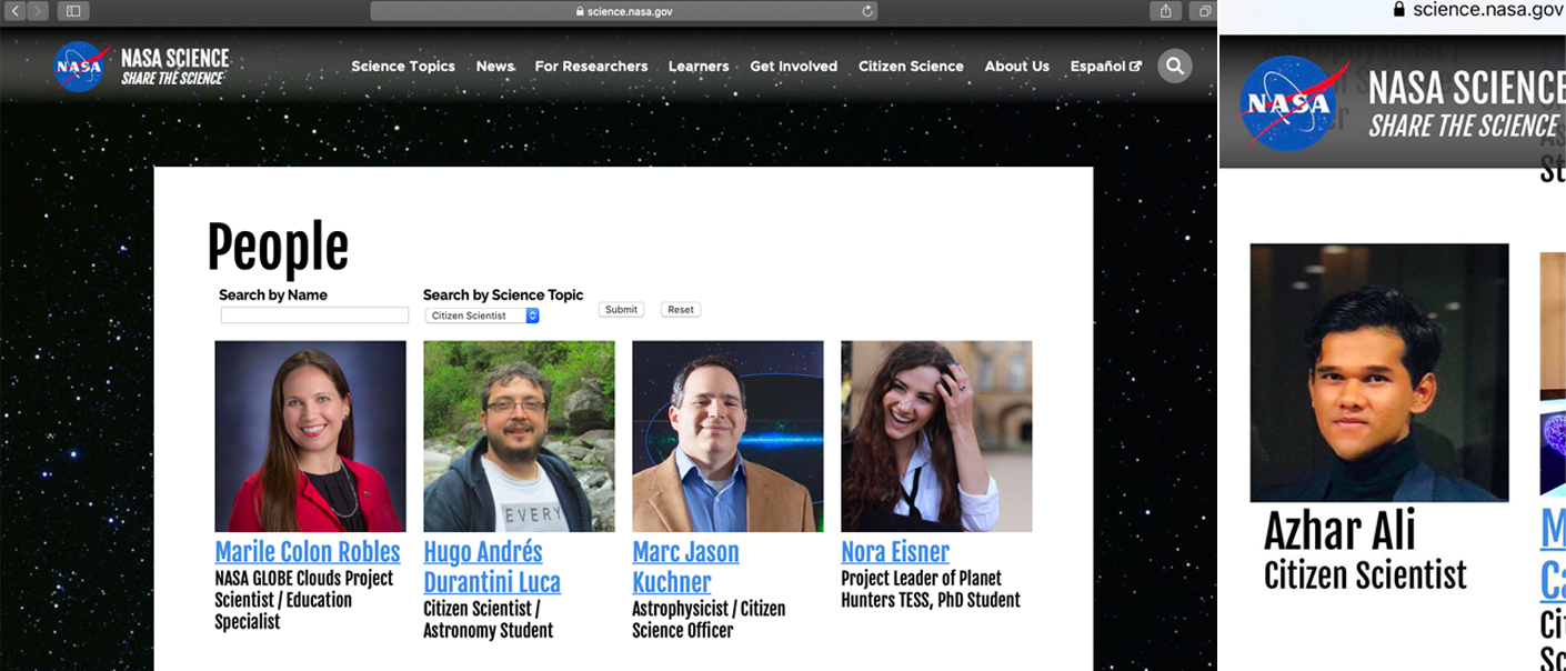 Screenshot of the official NASA website taken by SAYS and the screenshot shared by Azhar.