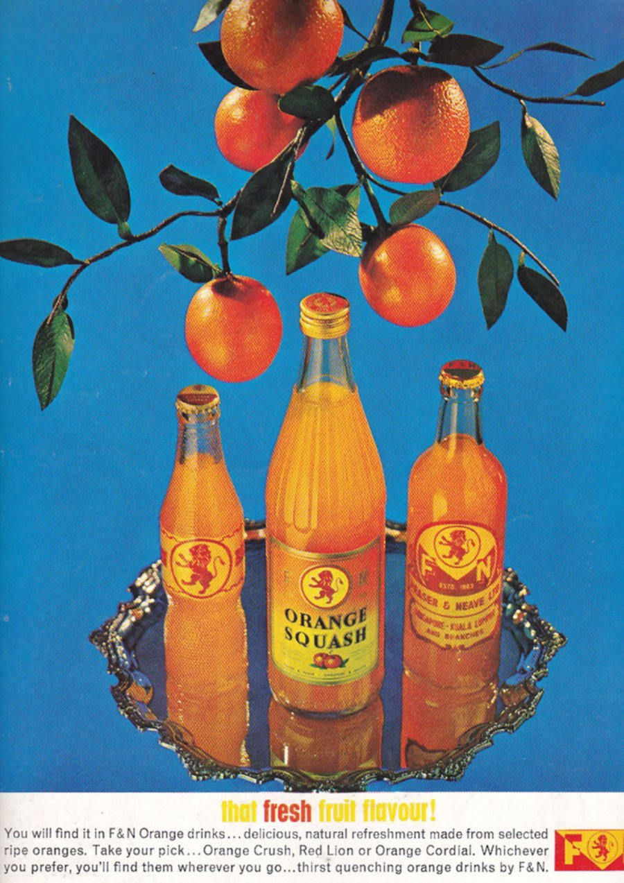 A 1960s advertisement on F&N's Red Lion drinks.