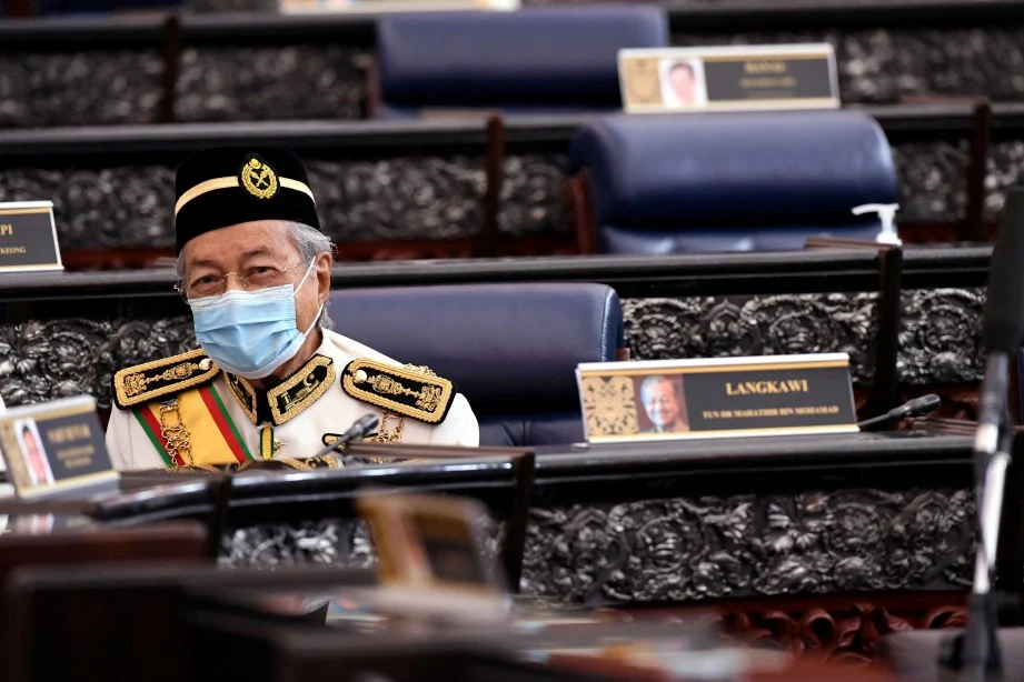 Former prime minister Tun Dr Mahathir sitting in the opposition bench.