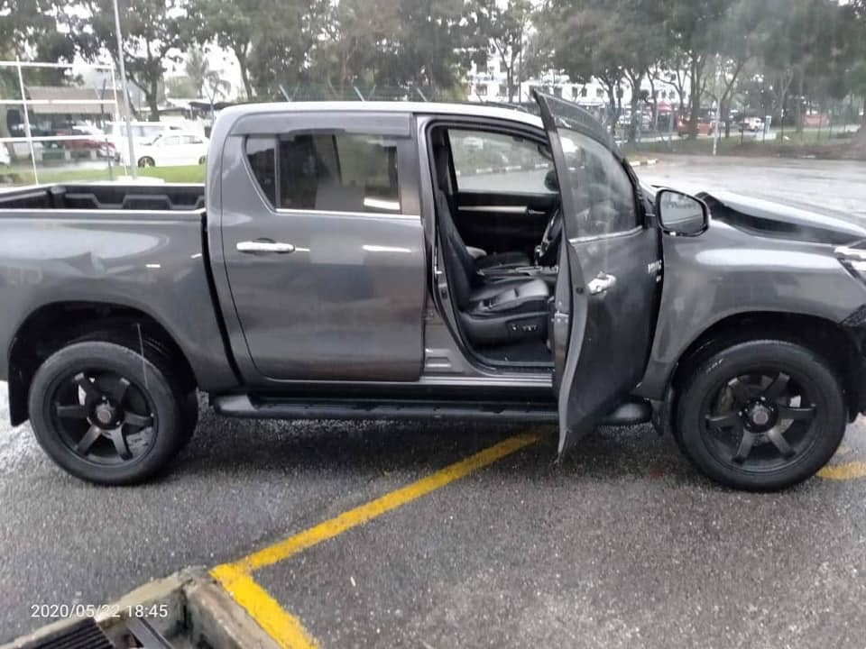 The pick-up truck involved in the incident.