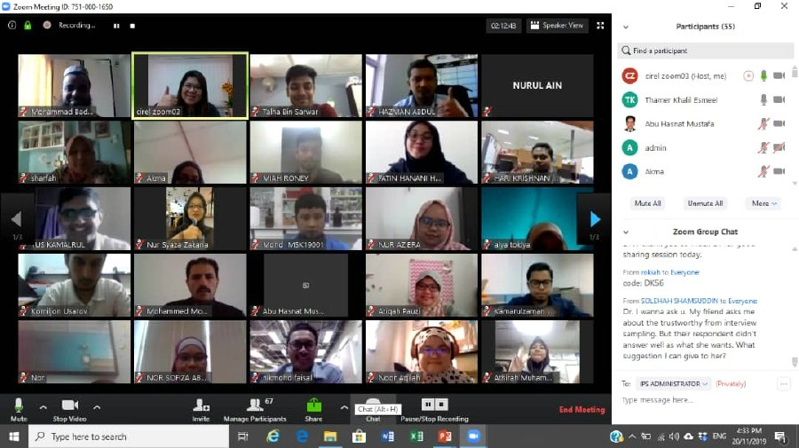 A Universiti Malaysia Pahang lecturer conducting an online lesson with students through Zoom.
