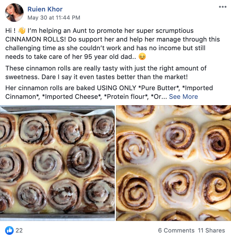Seller helps promote her aunt's cinnamon rolls to help fund relatives.