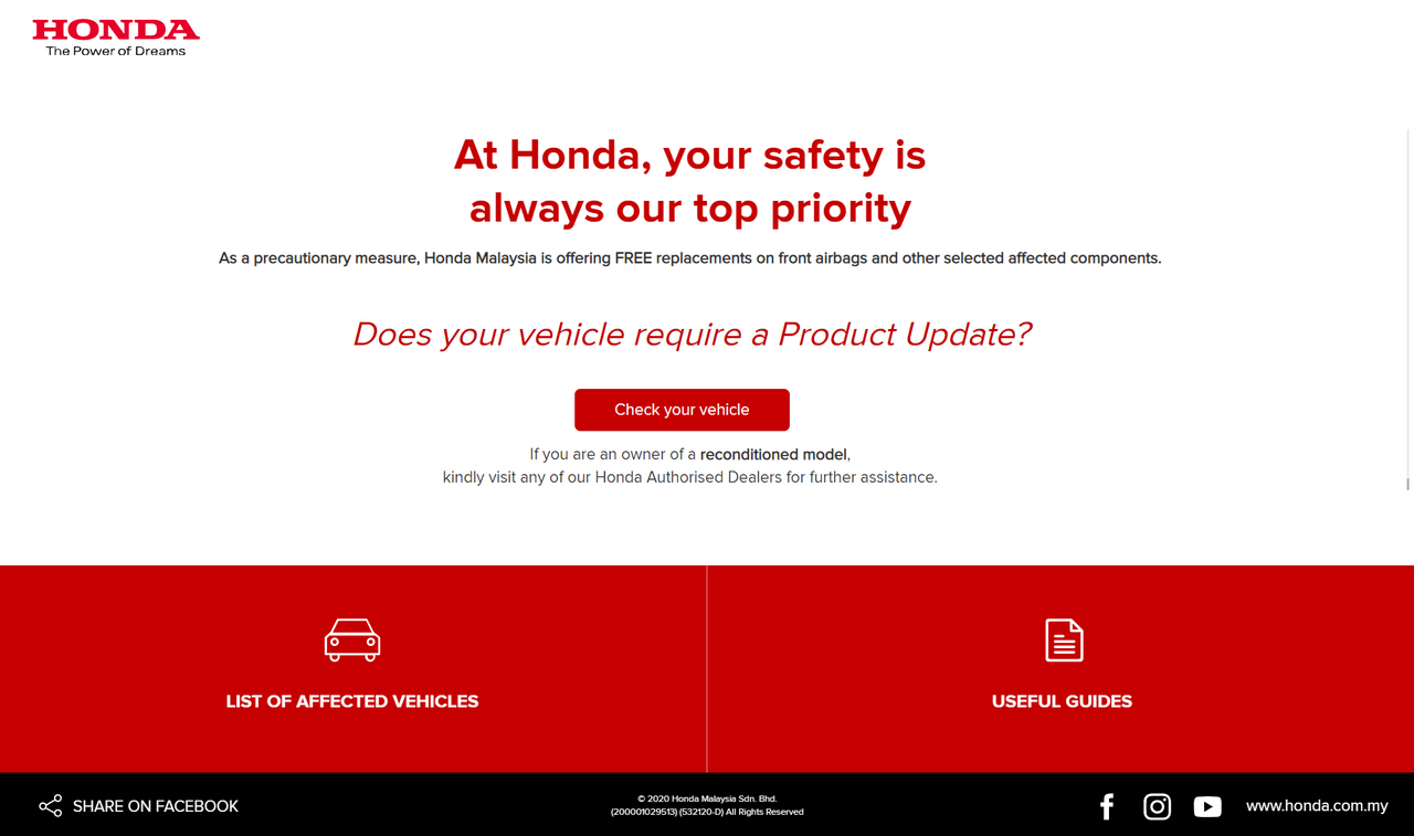Image from Product Recall Honda
