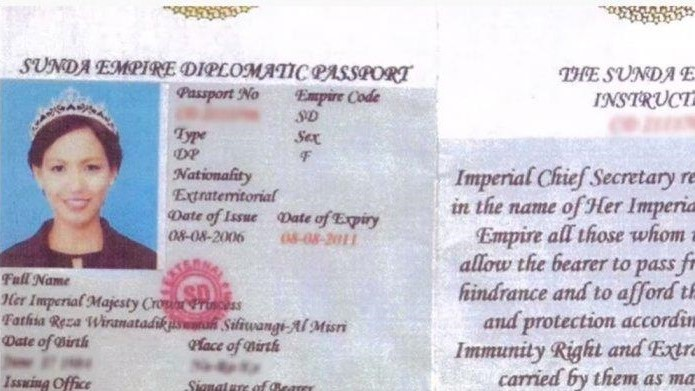 Fathia Reza's purported 'Sunda Empire' passport.