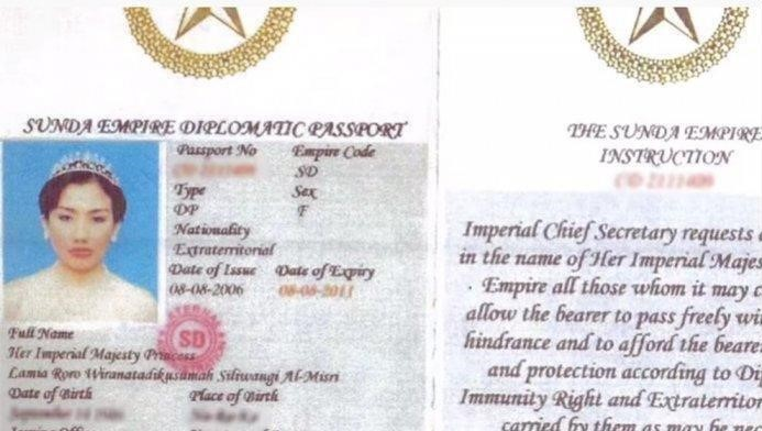 Lamira Roro's purported 'Sunda Empire' passport.