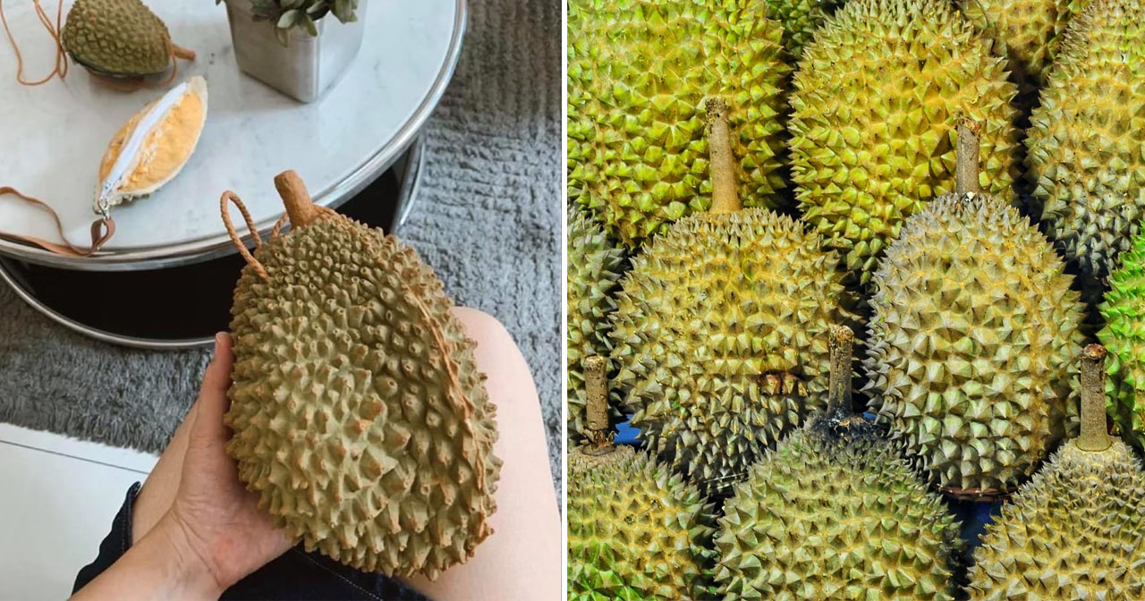 Durian bag (left) and real durian (right).