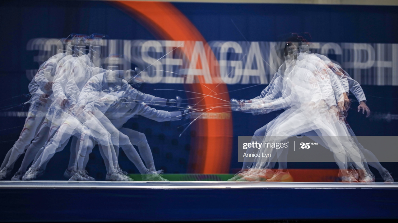 One of Teo's favourite shots featuring two fencers at the 30th Southeast Asian Games in 2019.