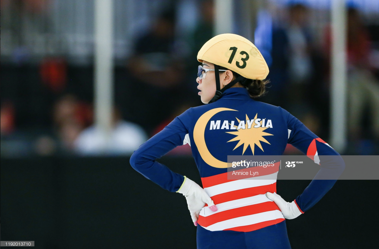 One of Teo's favourite shots featuring Malaysian short track speed skater Anja Chong.