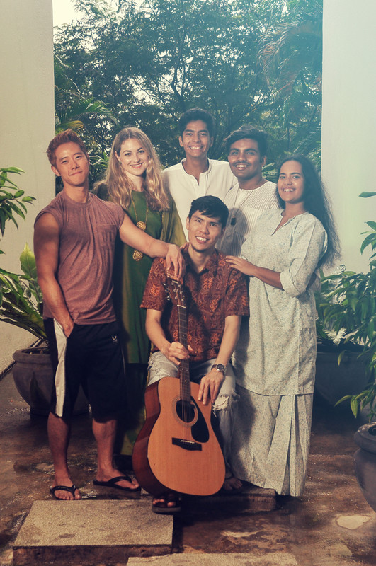 From left: Joshua Gui (plays Jason), Hannah Shields (choreographer), Badrish Bahadur (co-composer), Shafeeq Shajahan (director), Badrika Bahadur (plays Orked), and in the centre, Wai Leong (musical director).