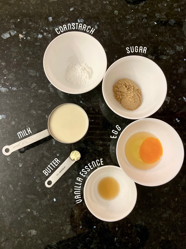 Ingredients for the custard topping.