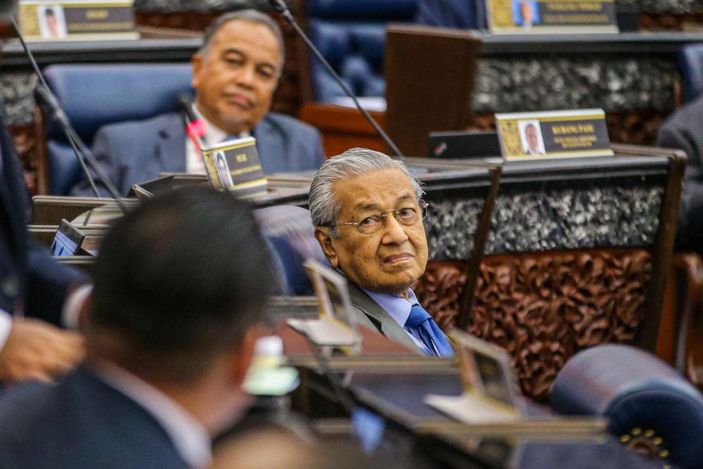 Former prime Minister Tun Dr Mahathir Mohamad in the Dewan Rakyat today, 13 July.