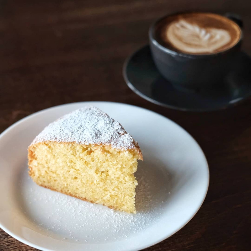 Pages Book Cafe's homemade butter cake.