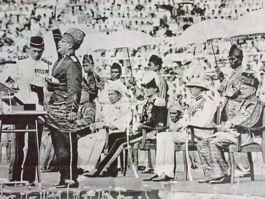 Tunku Abdul Rahman proclaiming the country's independence from British rule at Stadium Merdeka on 31 August 1957.