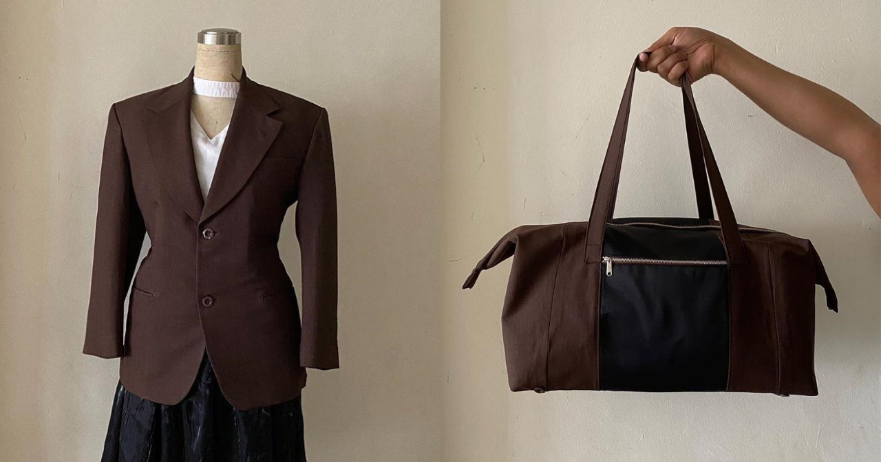 A brown blazer that was repurposed into a duffel bag.