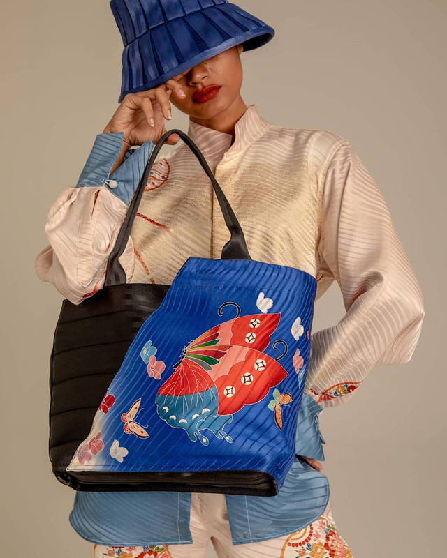 The bag was made from vintage kimonos.