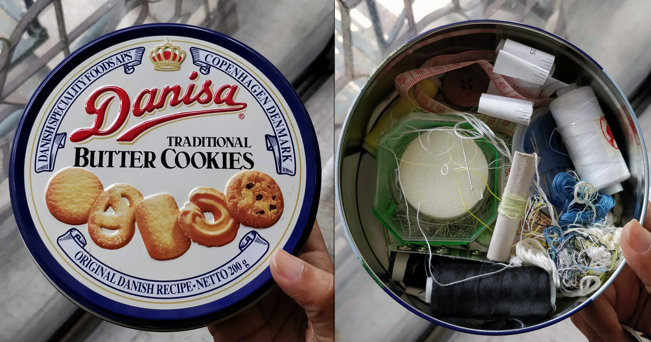After eating the biscuits up, my mum put a sewing kit into the tin and gifted it to me as a joke. Ha-ha, mum. Ha-ha.