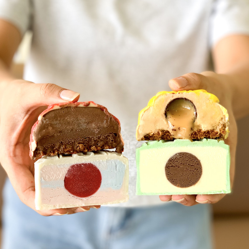 The flavours available are: Durian with chocolate yolk, Rocher with a crunchy base, Unicorn with a raspberry yolk, and Caramel Biscuit with chocolate salted caramel lava yolk.